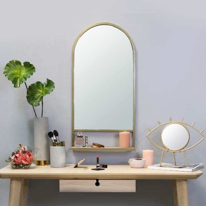 Bohemian with Collapsible Shelf Gold Metal Frame Mirror