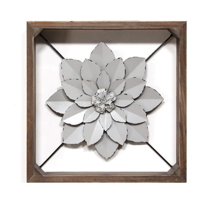 Grey Metal & Wood Framed Wall Flower