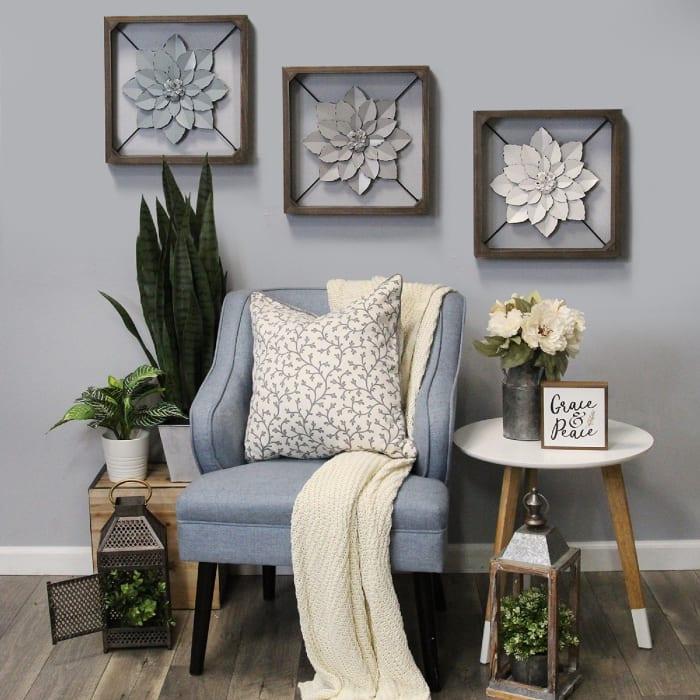 Pale Blue Metal Flower in Walnut Finish Frame