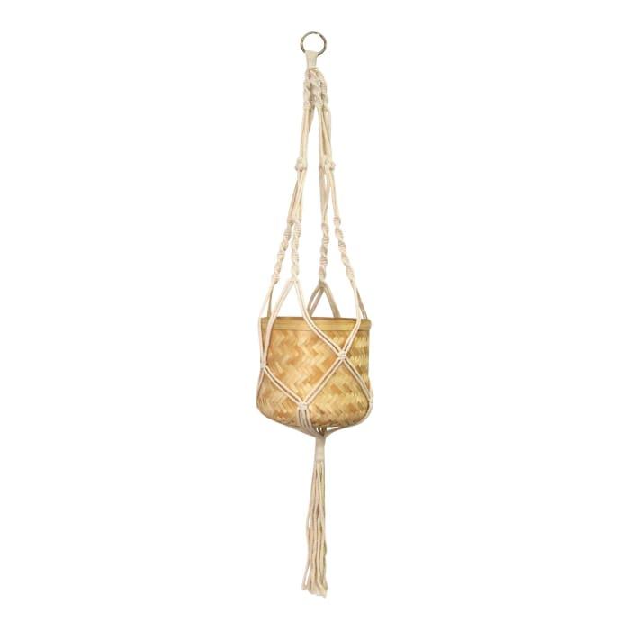 Neutral Woven Bamboo Macram Hanging Planter