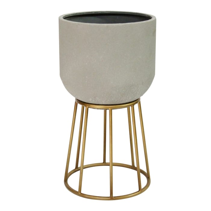 Faux Cement and Golden Metal Decorative Plant Stand