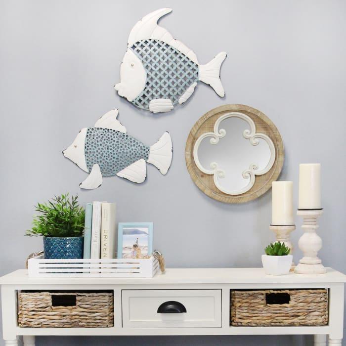 Tropical TwoTone Metal Fish Wall Decor