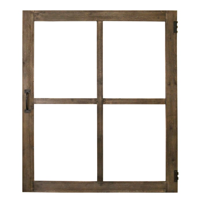 Walnut Wood Windowpane with Metal Hinges Wall Decor