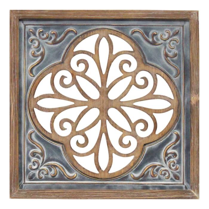 Distressed Blue Enamel Metal and Wood Framed Wall Art