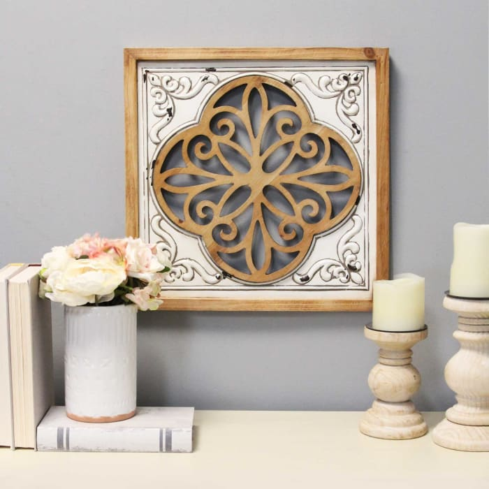 Distressed White Enamel Metal and Wood Framed Wall Art