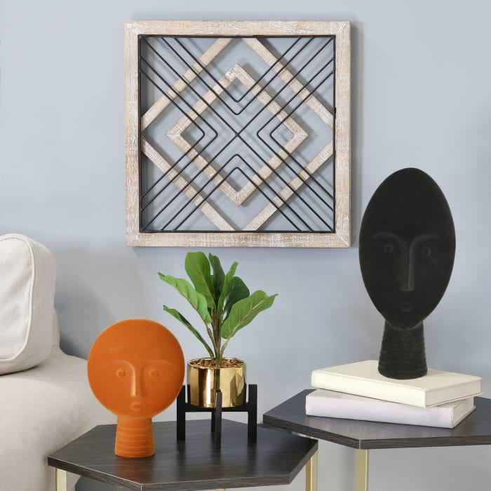 Sqaure Wood & Metal Geometric Plate Wall Decor