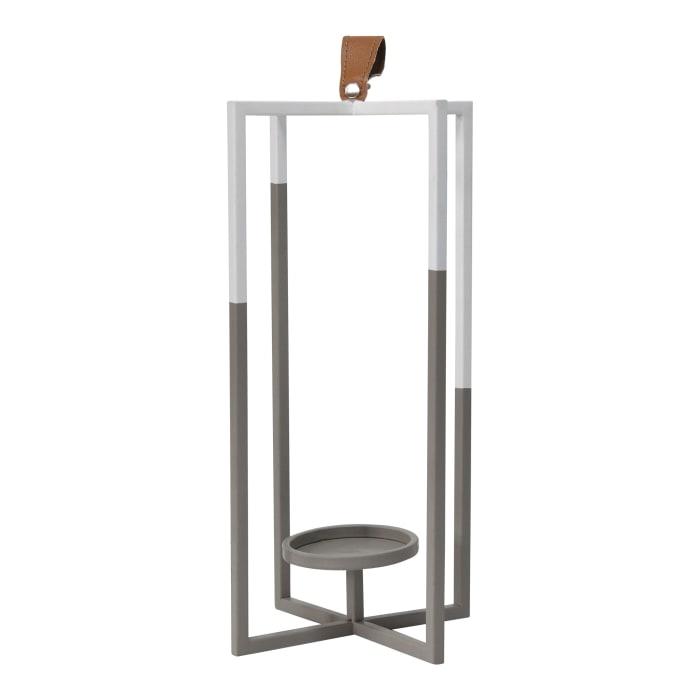 Grey and White Metal Farmhouse Lantern