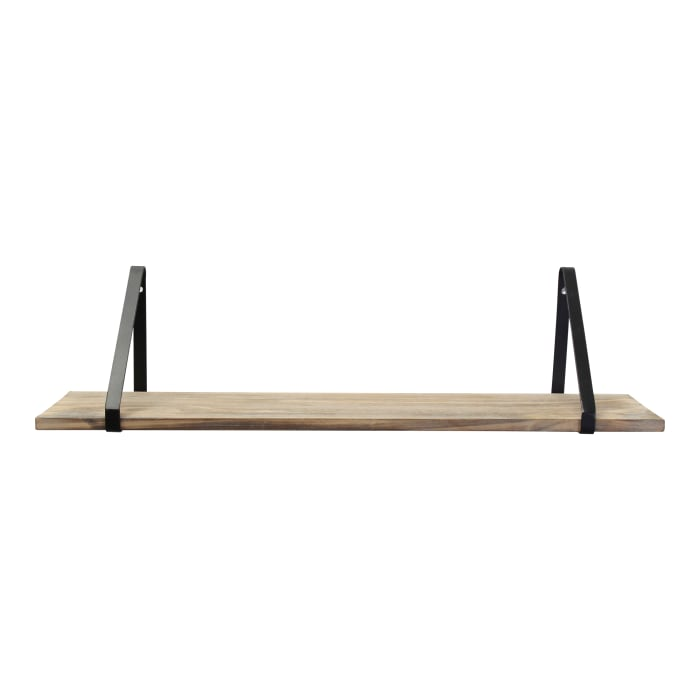 Industrial Black and Natural Wood Shelf