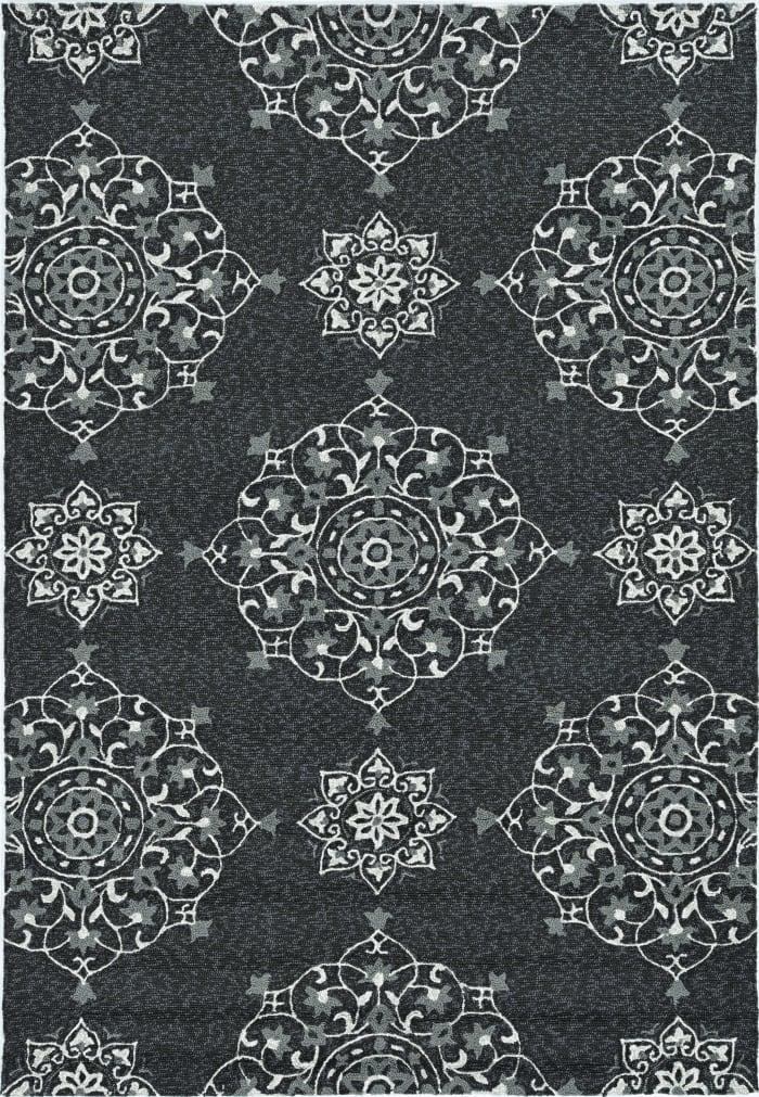 3' x 5' Charcoal Vintage Floral Area Rug