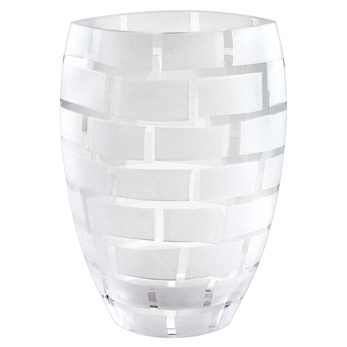 Frosted Crystal European Made Mouth Blown Wall Design Vase