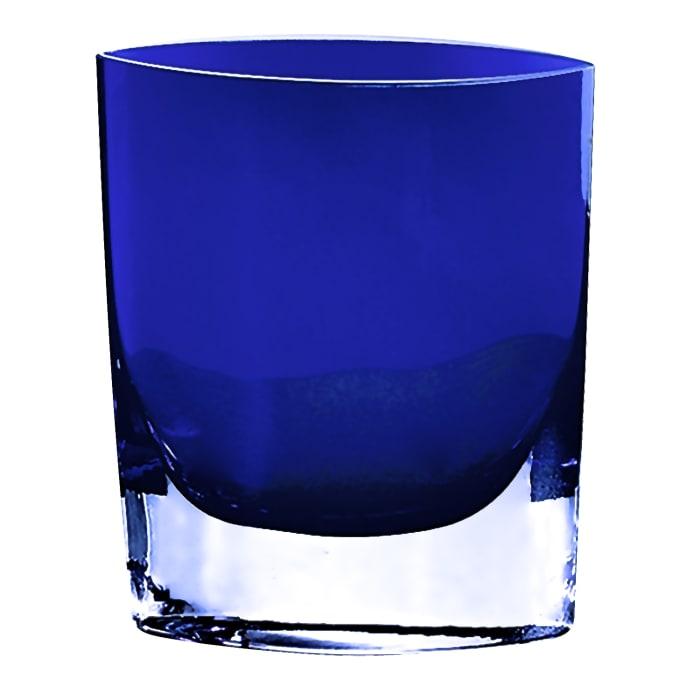 Crystal European Made Cobalt Blue Mouth Blown  Pocket Shaped Vase
