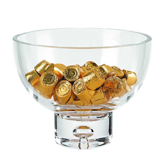 Glass Pedestal Candy or Nut  Mouth Blown Bowl