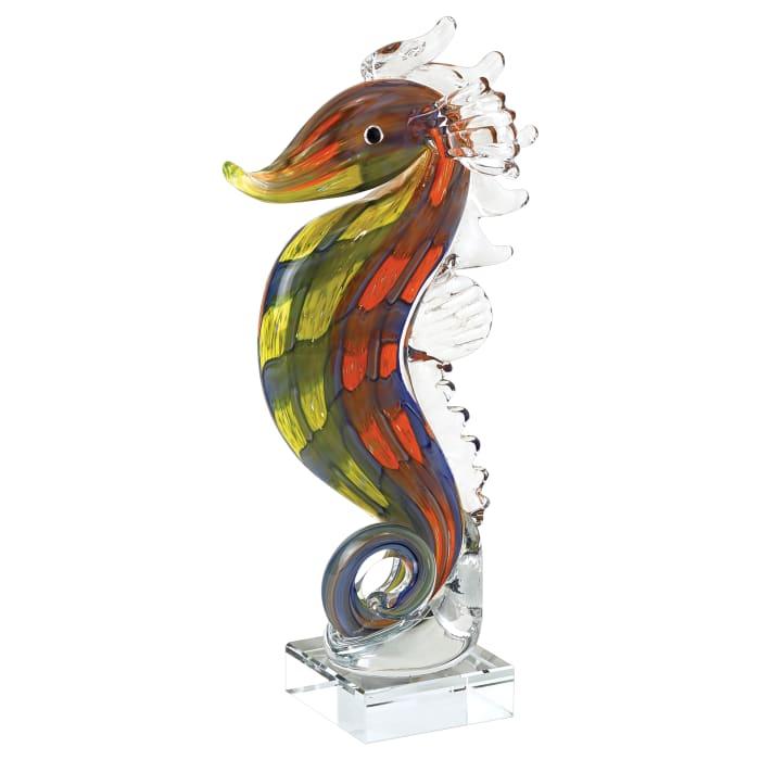 Mouth Blown Tall Seahorse Art Glass