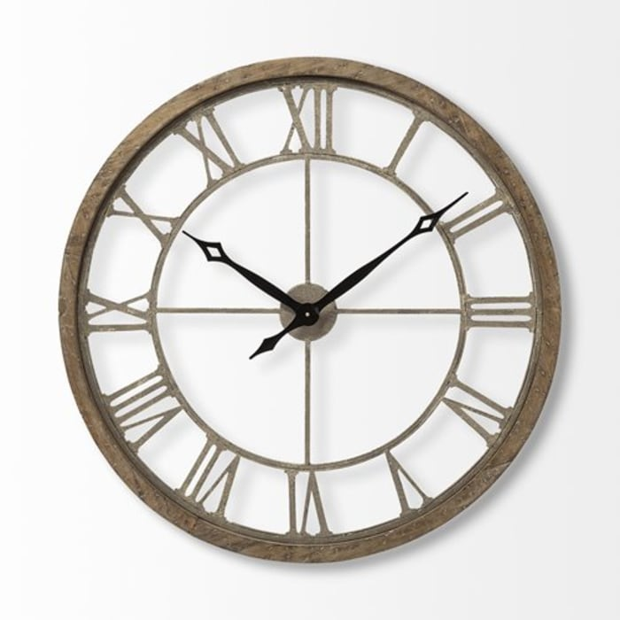 Farmhouse Matte-Black Toned Hands Round Oversize Brown Wall Clock