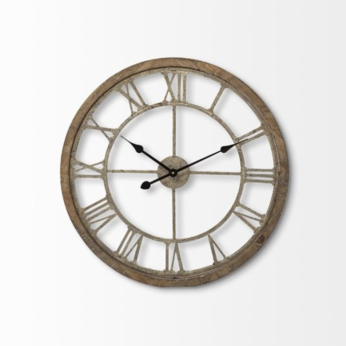 Farmhouse Round Large Brown Wall Clock