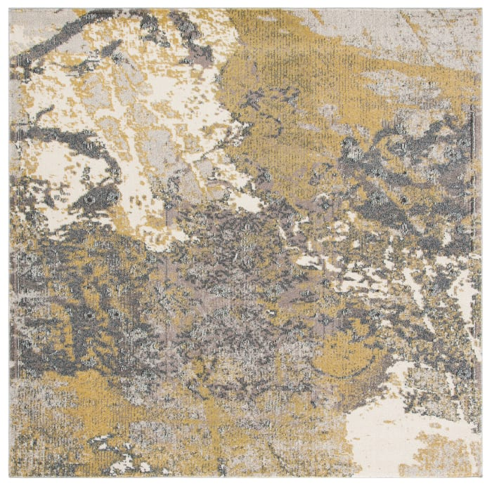 Gemma Square Ivory and Grey Polypropylene Rug