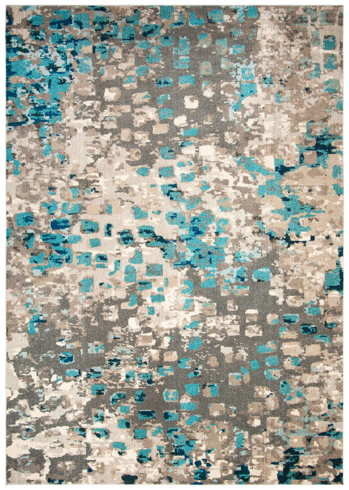 Gemma Grey and Light Blue Polypropylene Rug