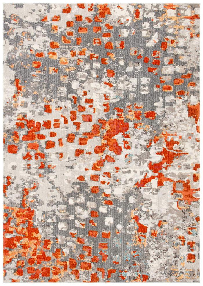 Gemma Grey and Orange Polypropylene Rug