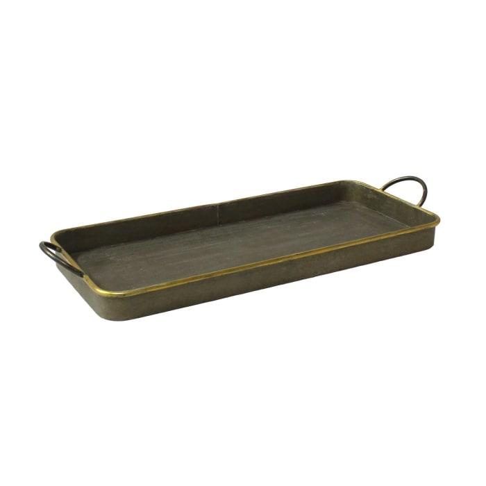 Galvanized Brass Detail Metal Set of 3 Trays