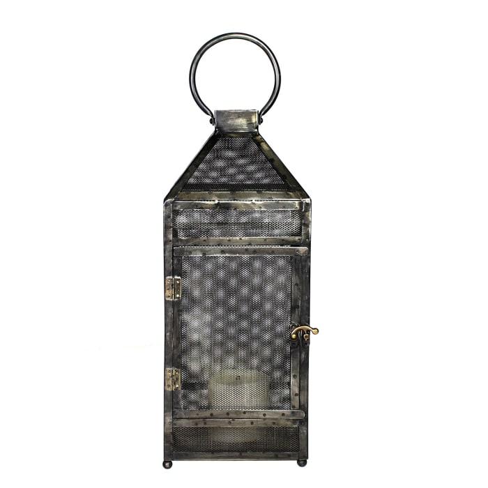 Rustic Industrial Gray Mesh and Metal Lantern