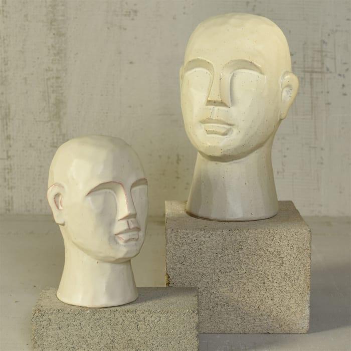 Geometric Small Matte White Ceramic Bust