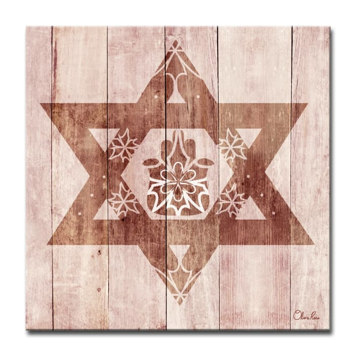 Star-Fatima Small Sepia Judaica Wrapped Canvas Wall Art