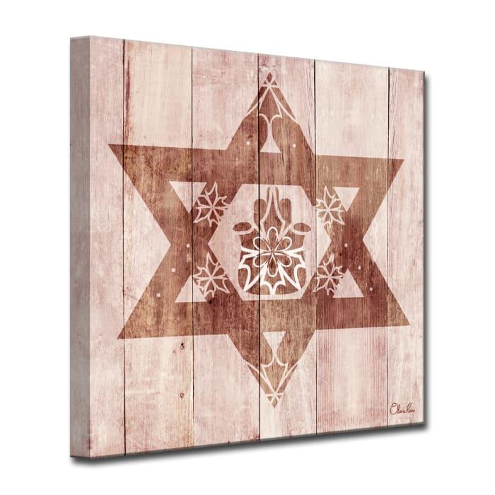 Star-Fatima Medium Sepia Judaica Wrapped Canvas Wall Art