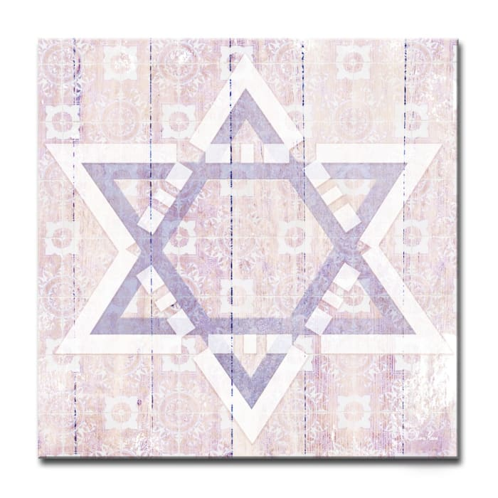 Star II Small Blush Judaica Wrapped Canvas Wall Art