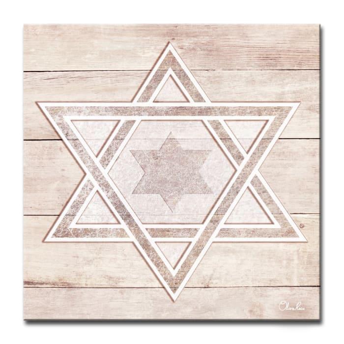 Star III Medium Sepia Judaica Wrapped Canvas Wall Art
