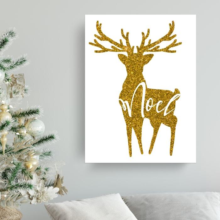 Wonderful Small Black Christmas Wrapped Canvas Wall Art