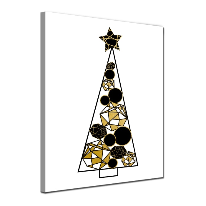 Tinsel & Glam Large Gold Christmas Wrapped Canvas Wall Art