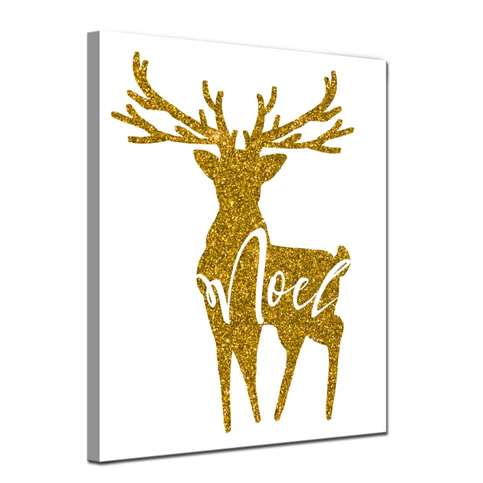 Glimmering Noel Reindeer Medium Gold Christmas Wrapped Canvas Wall Art