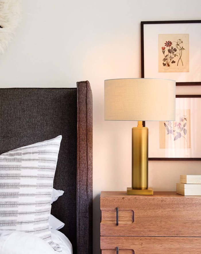Brentwood Metal Column Brushed Brass Table Lamp