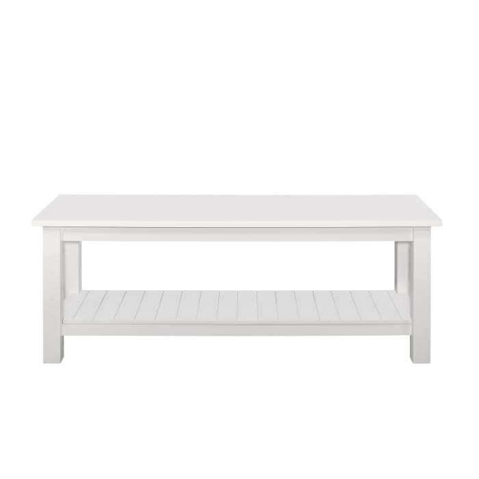 Modern Farmhouse White Entryway Bench with Grooved Shelf