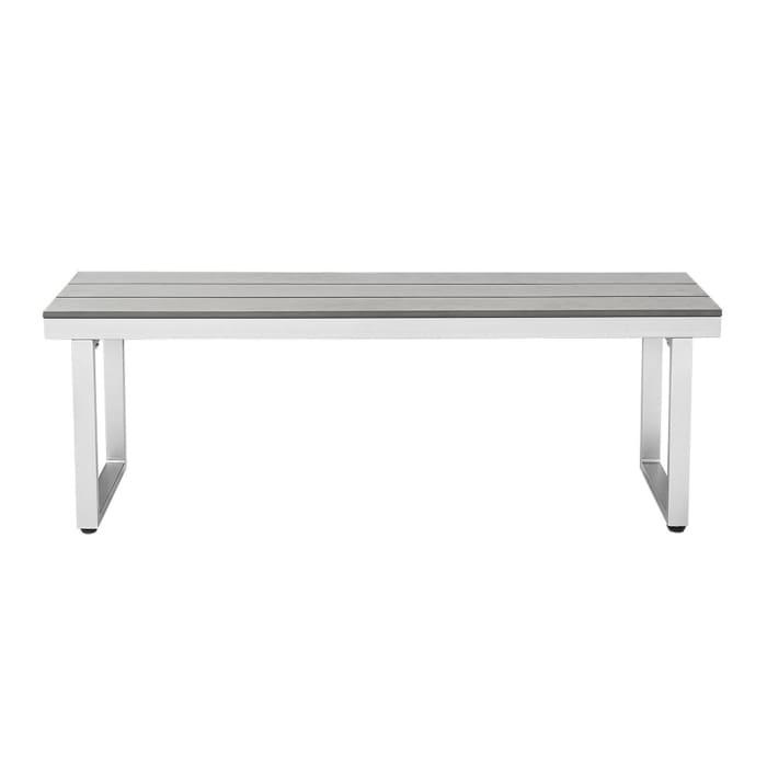 Modern Grey Aluminum Slatted Patio Dining Bench