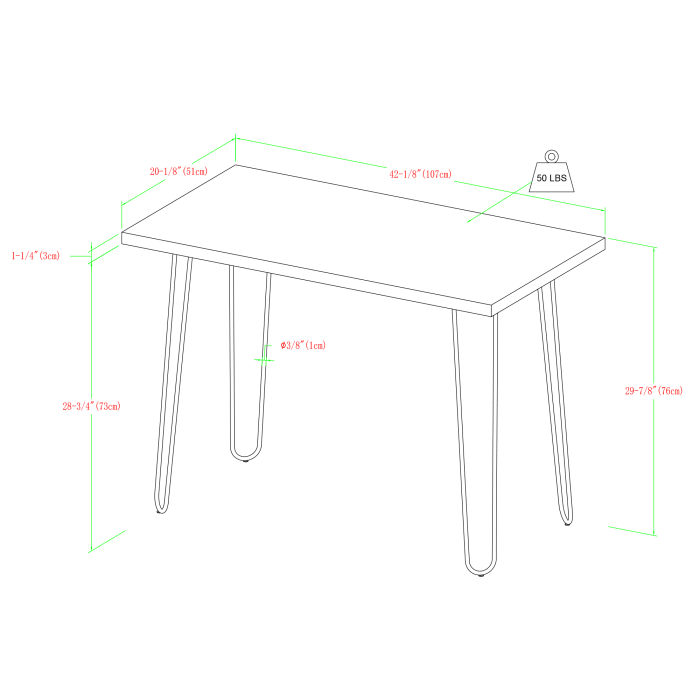 Modern White Hairpin Leg Writing Desk