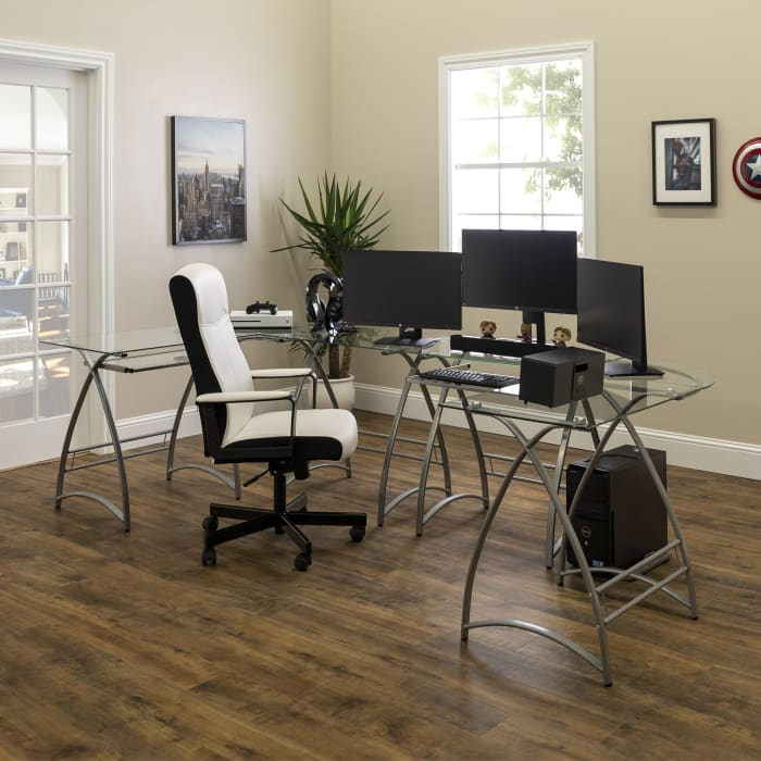 Modern Silver Metal Clear Glass L Shaped Curved Leg Computer Desk