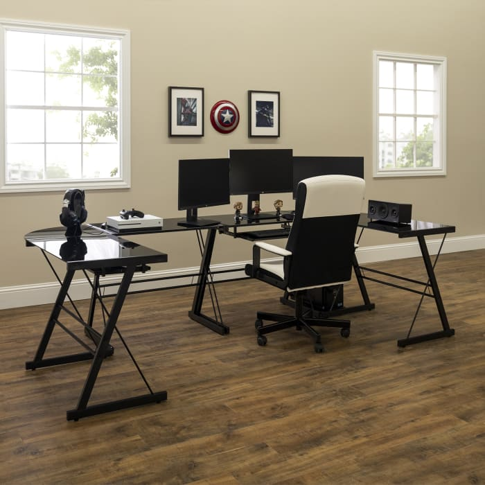 Modern Black Metal and Black Glass L Shaped Angled Leg Computer Desk