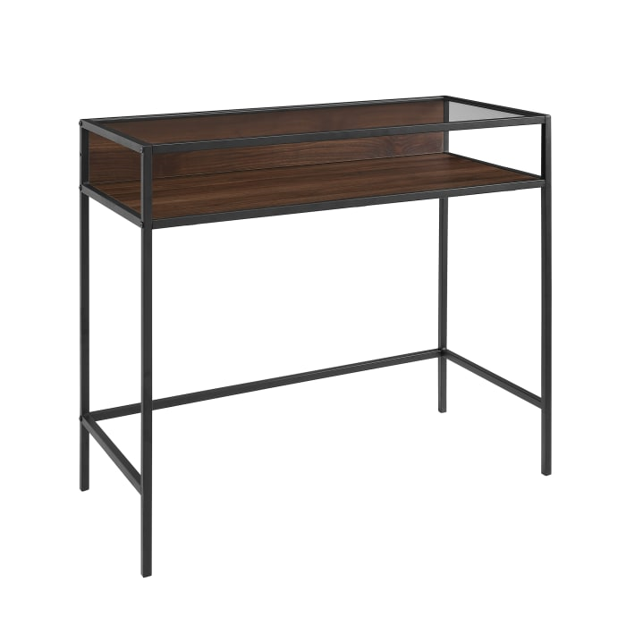 Modern Industrial Dark Walnut 2 Tier Glass Top Writing Desk