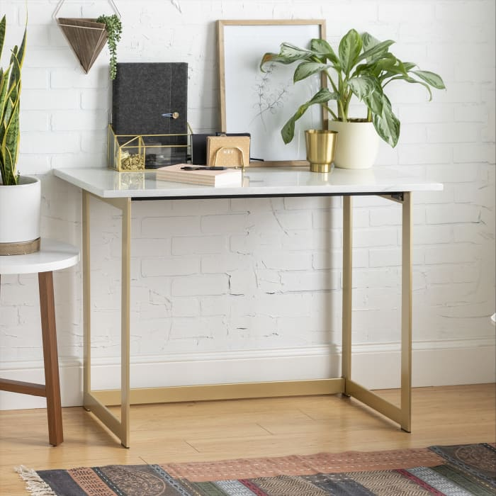 Modern Glam Faux White Marble and Gold Narrow Leg Writing Desk
