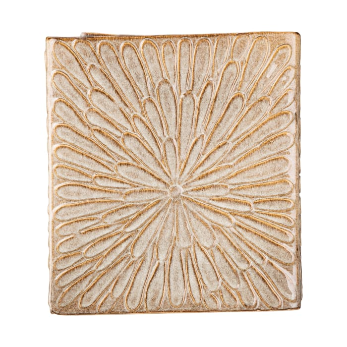 Sand Beige Embossed LED Lighted with Pump Fountain
