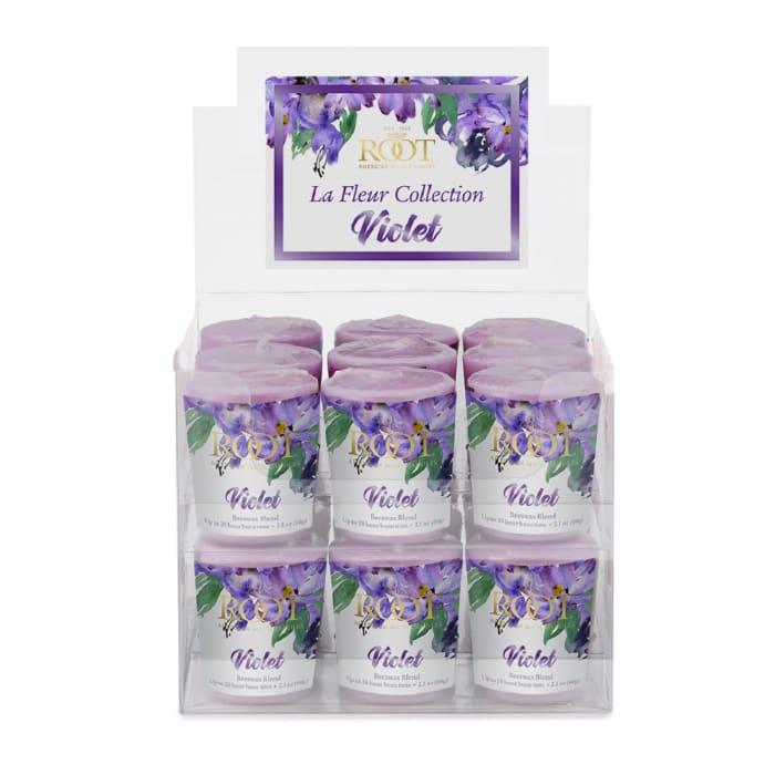 Root Candles La Fleur 20 Hour Votive Candles, 18-Pack, Violet