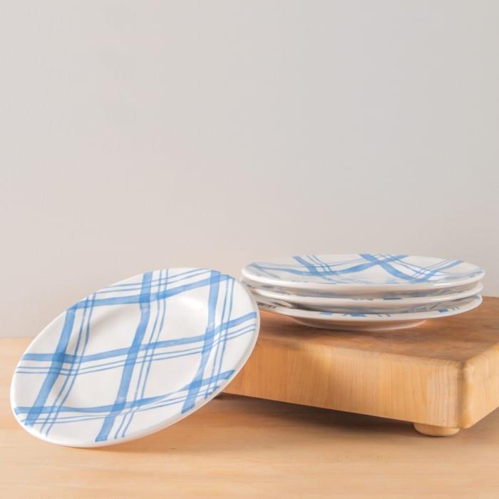 Pier 1 Country Blue Plaid Salad Plates, Set of 4