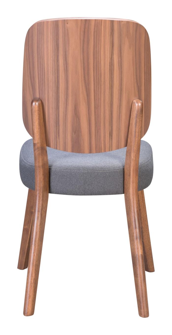 Alberta Walnut & Dark Gray Set of 2 Dining Chairs