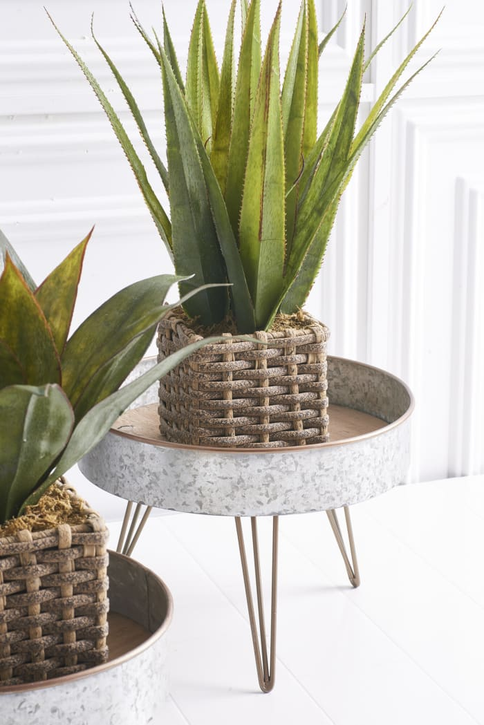 Set of 2 Round Tin and Wood Risers on Retro Hairpin Stands