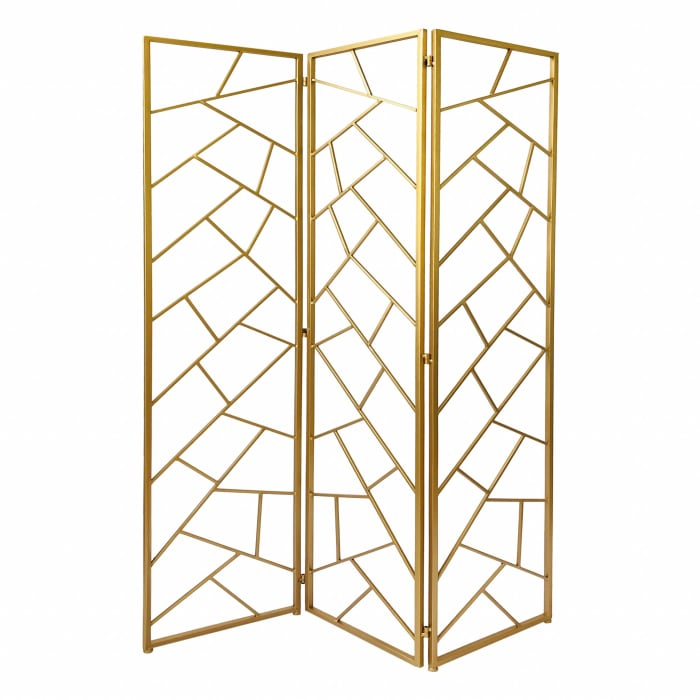 Gold 3 Panel with Geometric Motif Room Divider