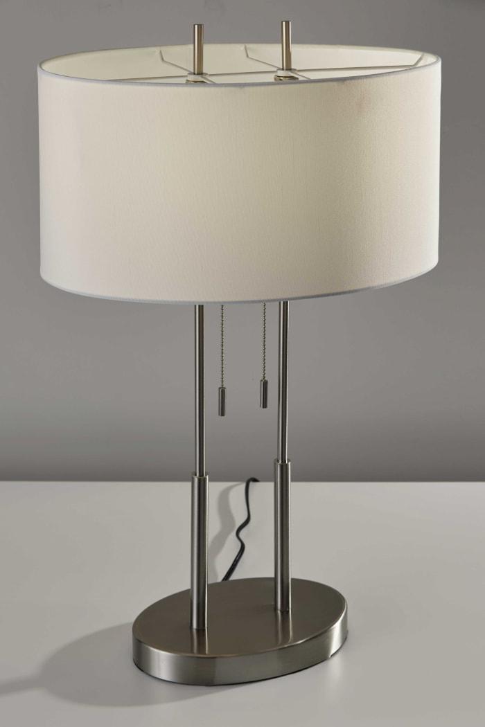 Brushed Steel Dual Pole Metal Table Lamp