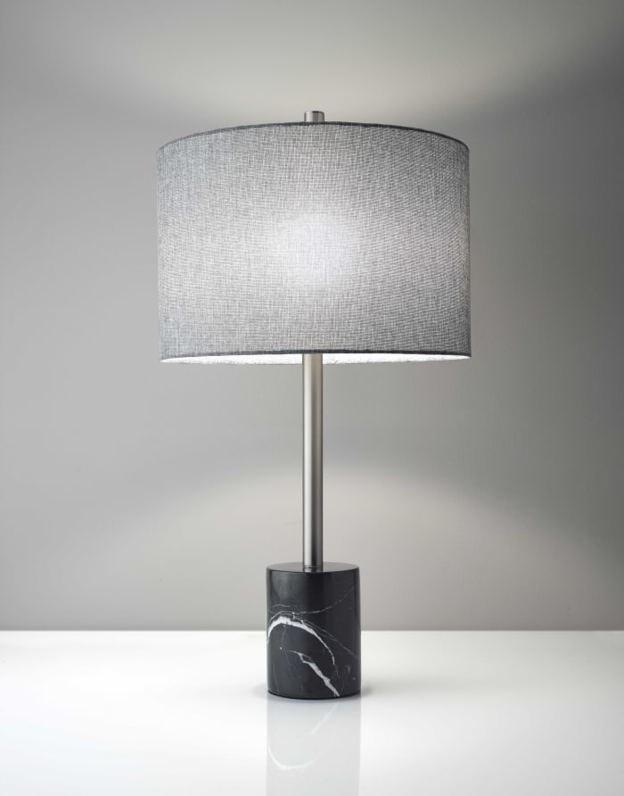 Barbell Brushed Steel Table Lamp