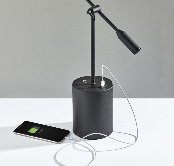 Black Metal Saucer LED Adjustable Desk Lamp