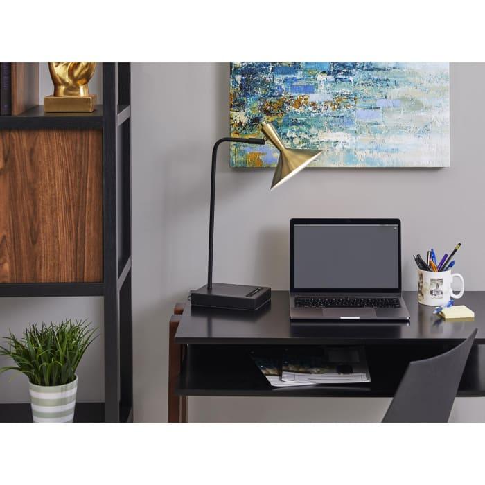 Spotlight Brass and Black Metal LED Desk Lamp